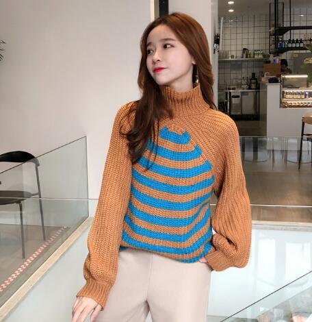 韓国ファッション レディース 美人ニット パフスリーブ リブ袖 体型カバーになる 女子力UP タートルネック ニット トップス