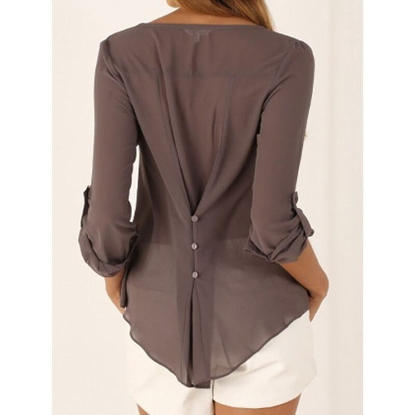 スタイリッシュなフルスリーブシフォンシャツVネック不規則な背中ボタン付き女性のブラウストッププラス
