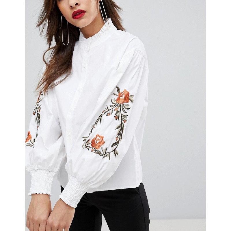 マンゴ レディース トップス ブラウス・シャツ【Mango Embroidered Sleeve Shirt】White