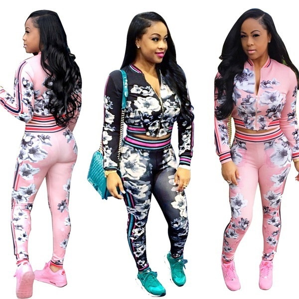 NEW Spring Fashion Women s Two Salad Digital Flower Printed Suit Two-piece Outfit Article