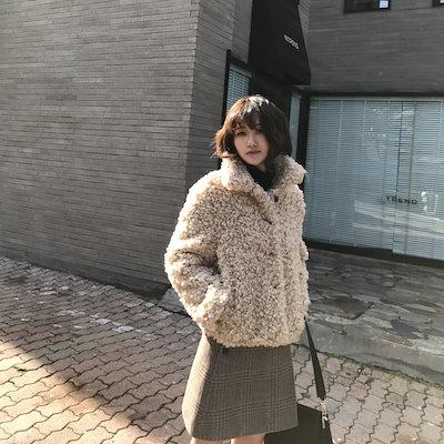 【f0062a】プードルファージャケット コート ボア アウター ベージュ 大人かわいい