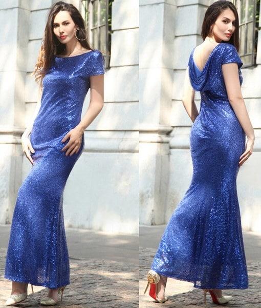 女性のドレス夏の長いスパンコールドレスウェディングドレスホルター高級カクテル