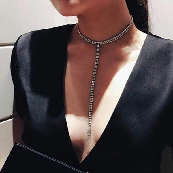 2017新しいヨーロッパエレガントな女性ファッションドレスジュエリーパーソナライズされたナイトクラブのネックレスラグジュアリーフルDiam