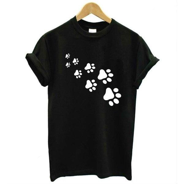 女性ファッションルーズコットン猫の足はプリントTシャツカジュアルファニートップS  -  3XL