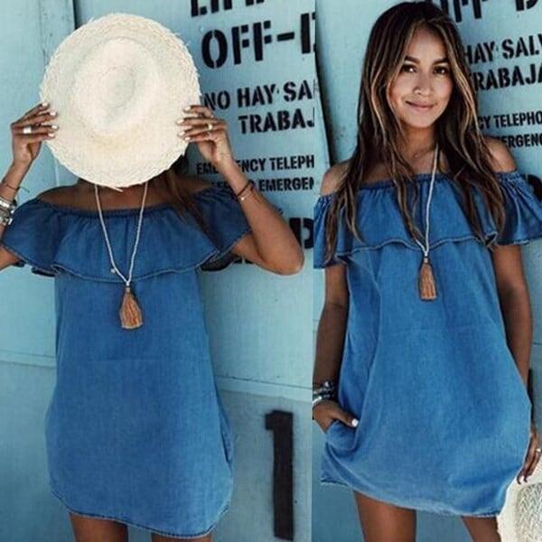 新しいファッション夏のカジュアルノースリーブレディースエレガントなデニムドレス新しいファッション女性のデザイナールースS