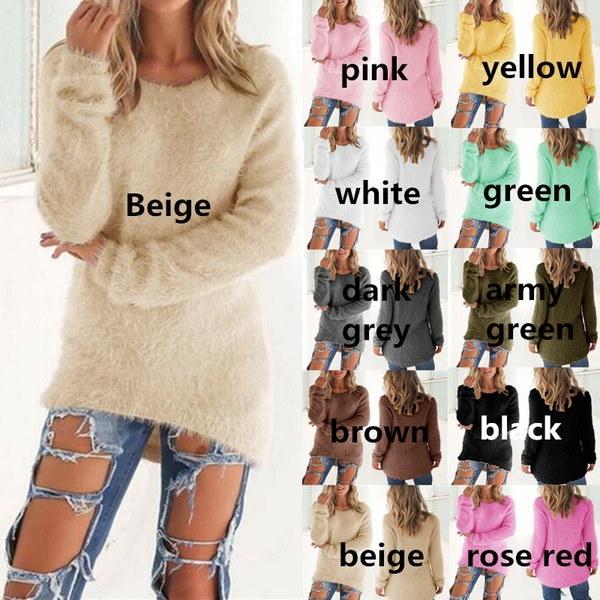 ファッション女性長袖ラウンドネックプルオーバーニットウェアロングセーターシャツトップス