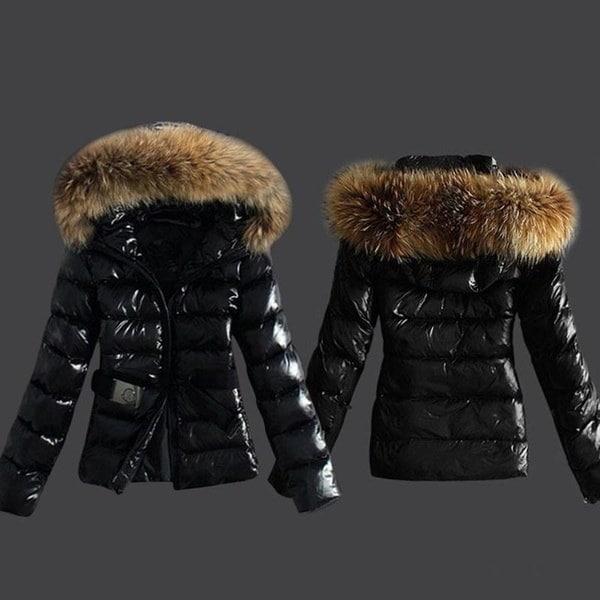 女性の冬ブラックコートコットンパッド入りジャケットフード付きファーカラーダウンジャケットサイズS-XXXL