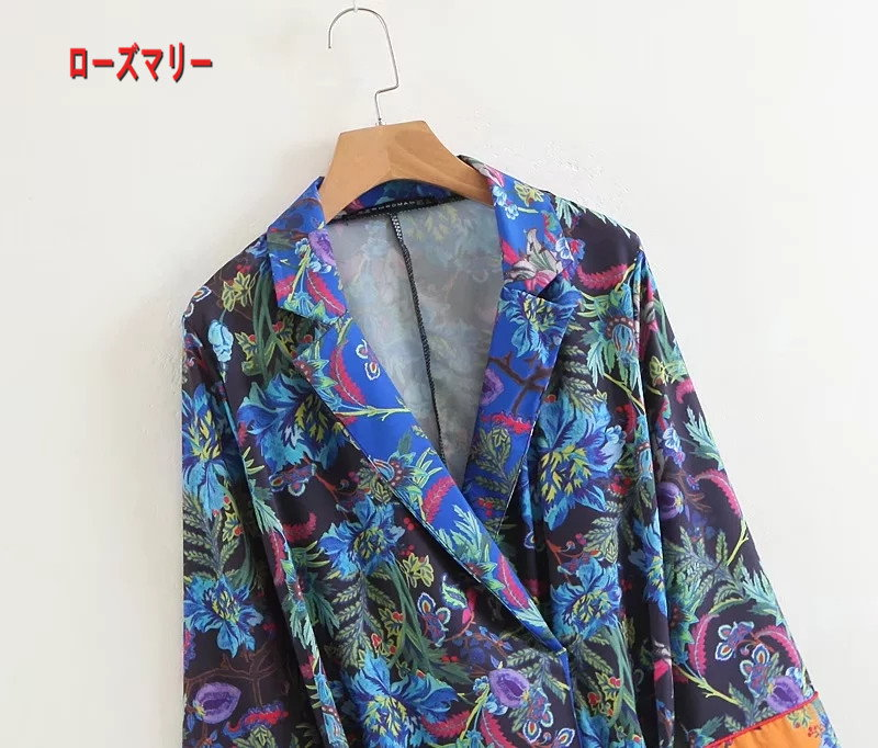 【ローズマリー】欧米風2018春ファッションレジャープリント着物コート新型長袖シャツ式の上着  ベーシック 花柄 ヴィンテージ調 -R1078