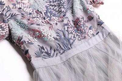 夏らしい 刺繍 ミニ丈ドレス かわいい TSPH0250