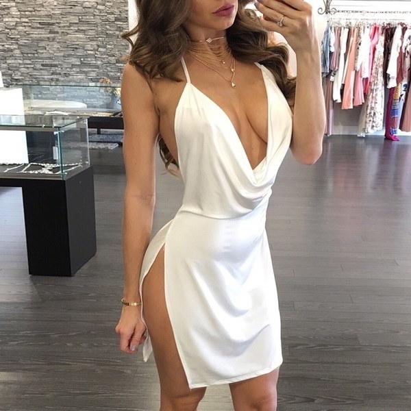 新しい女性ファッションセクシーなバックレスホルターネックハイスプリットパーティホームカミングドレスClubwear