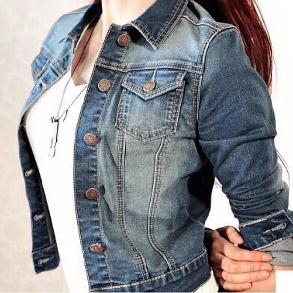 ファッションデニムジャケットレディースジーンズジャケットレディースショートコートロングスリーブアウター