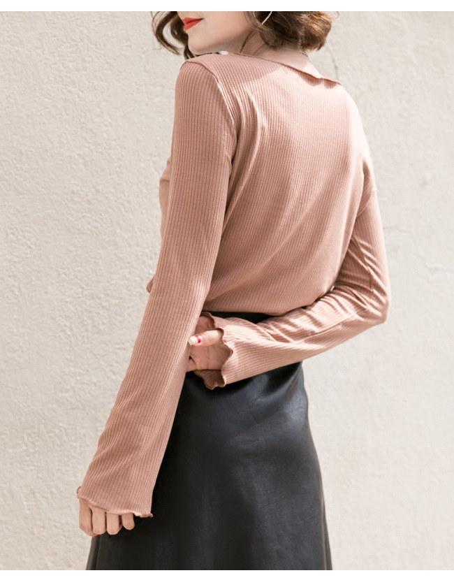 レディースファッション 女性 トップス プルオーバー ニット素材 セーター Vネック インナー カットソー スイート ホワイト ベージュ 優雅 フリル襟 可愛い 通勤 女子力up 優しい印象 ベーシッ