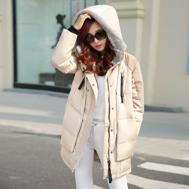 冬のダックダウンコート女性ルース・ミディアム・ロングフード付きジャケットカジュアルミリタリーパーカーオーバー肥厚プラスサイズSnowwear