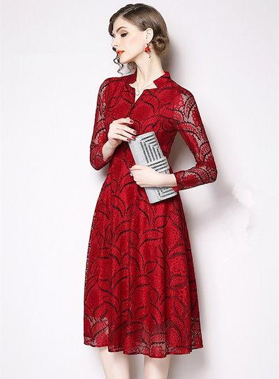 韓国ファッション 韓国 ワンピース ワンピースドレス パーティードレス 結婚式 レース フォーマル 大きいサイズ お呼ばれ マタニティ 20代 30代 レディース 七分袖 膝丈 ひざ下丈 上品 清楚