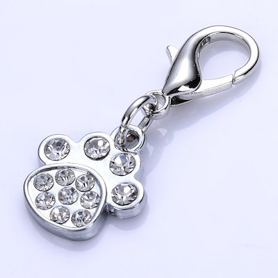 Fashion Crystal Jewelry Lobster Clasp Charms For Collar Necklace Paw Shaped Pet Tag Dog Accessoreis