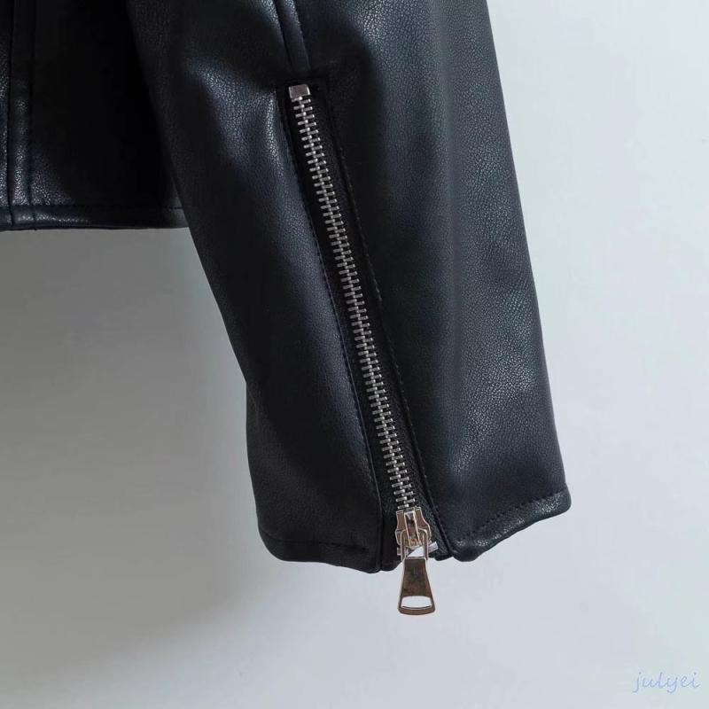 欧米風PUジャケット スタンドカラージャケット BF風 ブラック レザージャケットレディース ライダースショート丈革ジャン