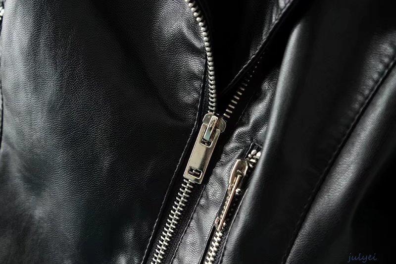 2カラー揃い ジッパー装飾 スリム 着やせ PUジャケット スタンド  レザージャケット   レディース   ライダース   ショート丈革ジャン ダークレッド、ブラック