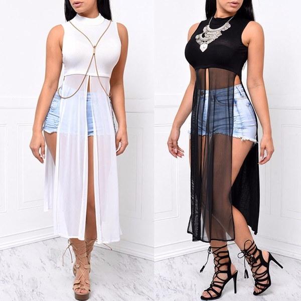 ファッションセクシーなノースリーブドレスネット糸パッチワークスルードレス黒と白の色