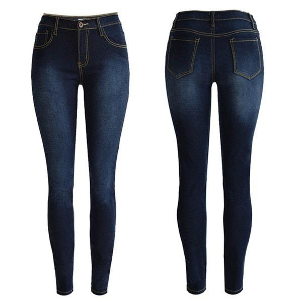 ファッション女性ハイウエストペンシル伸縮デニムジーンズパンツレディーススキニータイトジーンズズボン