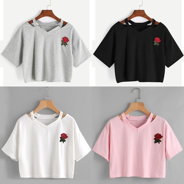 Women Casual T Shirt Short Sleeve V Neck Rose Printed Vest Tops Blouse