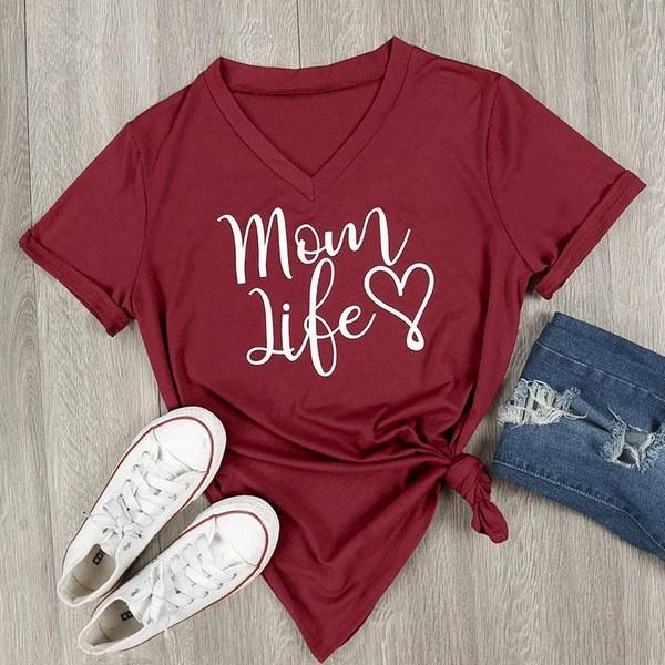 レディースファッションママライフハートレタープリントVネックTシャツ半袖トップブラウスカジュアルシャツB