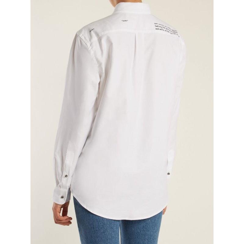 オフ-ホワイト レディース トップス ブラウス・シャツ【Point-collar cotton shirt】White