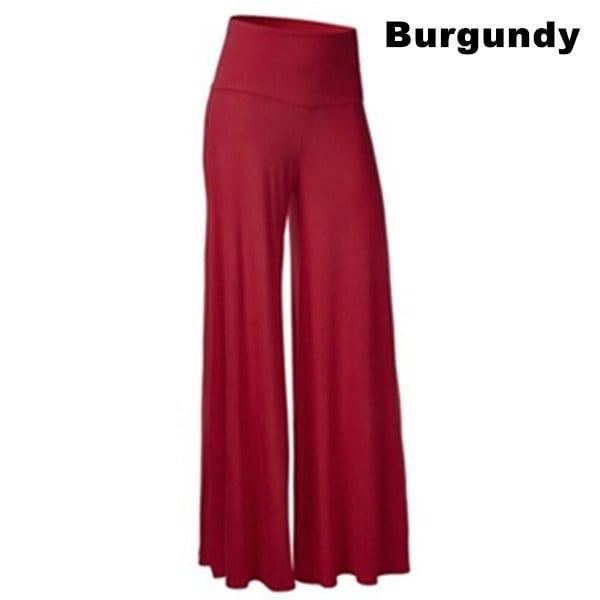 10色女性のファッションワイドレッグ快適なヨガのダンスフォールドダウンウエストパンツプラスサイズ