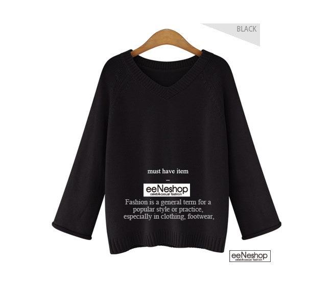 ★送料無料★Vネック ワイドスリーブ ニット[レディース] 韓国ファッション ワンピース バッグ リュック パーカー コート アウター カーディガン ハロウィン セットアップ トレーナー