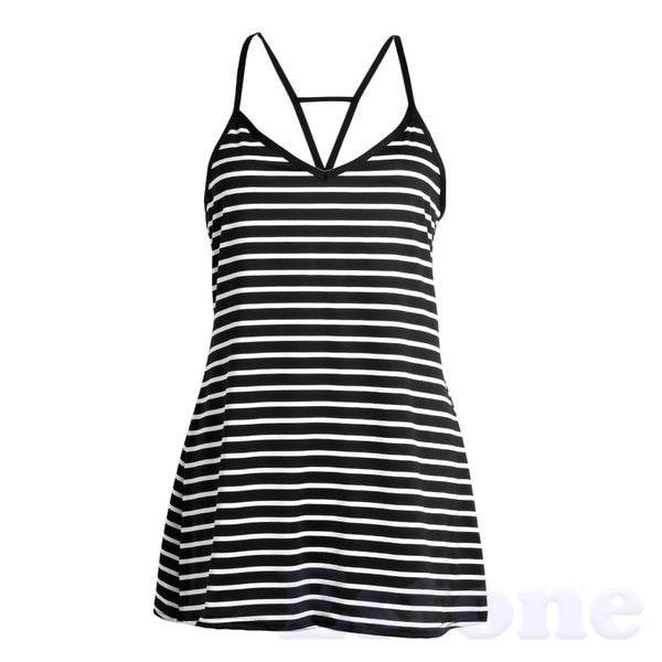 ファッション女性夏のクールなストライプルースVネックホルタードレス