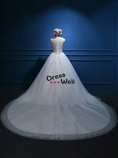 Stunning Designer Beading Sheer Back Queen Tulle Chapel Wedding Dress Bridal Gown  tb166407