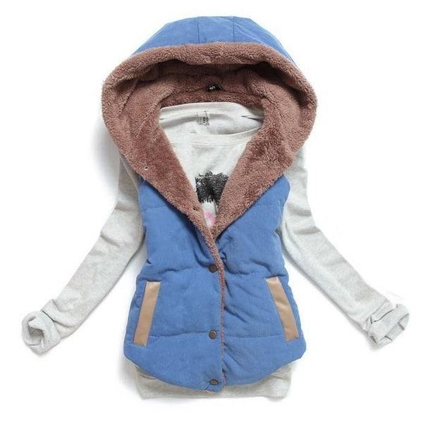 2015 Women Waistcoats Length Jacket Hooded Thick Cotton Coat Warm Velvet Sleeveless Vests