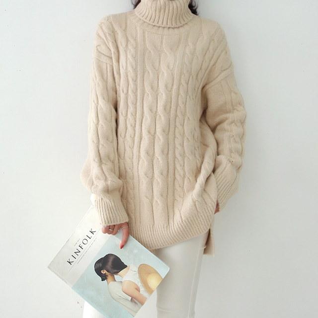 Cable Turtleneck Knit Romantic warm warm cable Pretty turtleneck Long knit