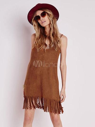 Brown Fringe Straps Velvet Shift Dress for Women