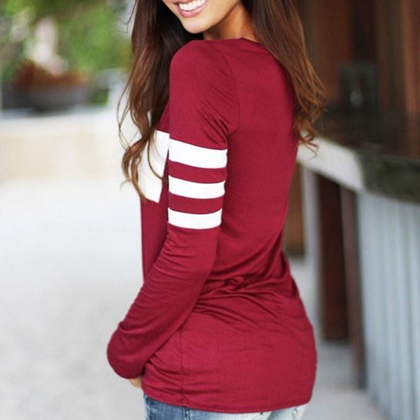 レディースフィットネスロングスリーブブラウスシャツトップルーズセクシーカジュアルプルオーバーTシャツ