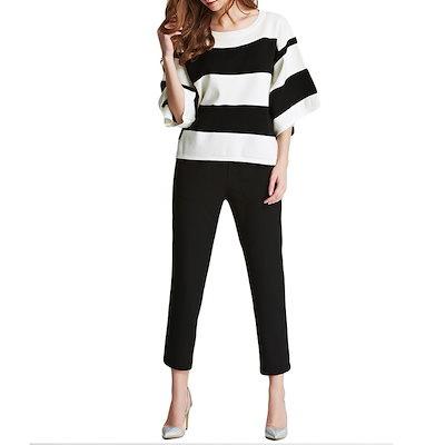 新しいファッション女性は、ブラウスOネック半袖ストライプデザインカジュアルトップホワイトを編んだ