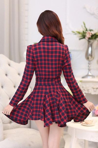 Fashion New Women  Dresses Plaid V-neck Party Elegant Evening Classical