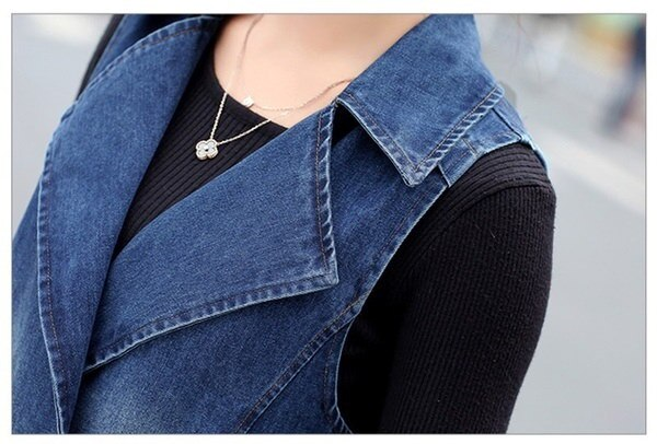 Women Long Denim Vest Coat 2016 New Spring Fashion Vintage Washed Double Breasted Sleeveless Jeans J