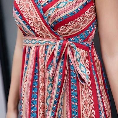 韓国ファッション 韓国 キャミソール エスニック 柄 マキシ リボン ウエスト ワンピース リゾート 旅行 フェス (19C15025)