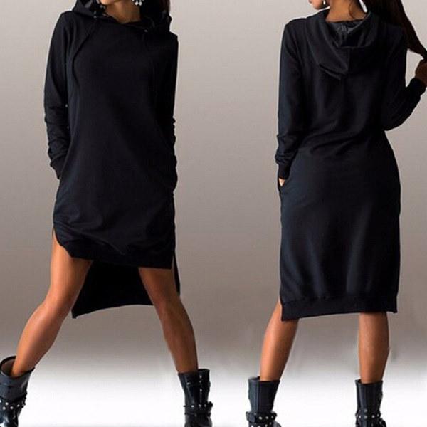 ファンレディースカジュアルルーズパーカードレス女性プラスサイズフーディプルオーバーフード付きドレス