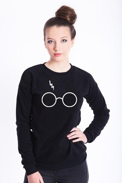 CSPICKY女性秋ファッションハリーポッタースウェットライティングメガネセータークルーネックロングスリーブ