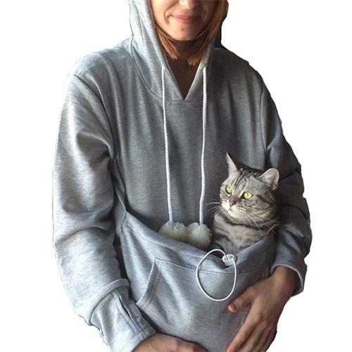 ファッションカジュアル女性のトップス猫の恋人プルオーバーパーカーと抱擁ポーチ犬のペットパーカーカジュア