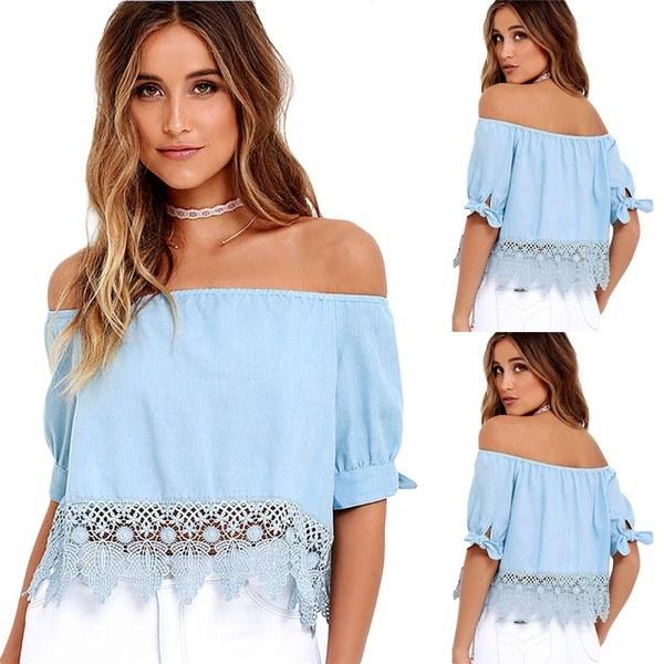 Fashion Summer Women Ladies Lace Off-shoulder Casual Blouse Crop Tops T-Shirt