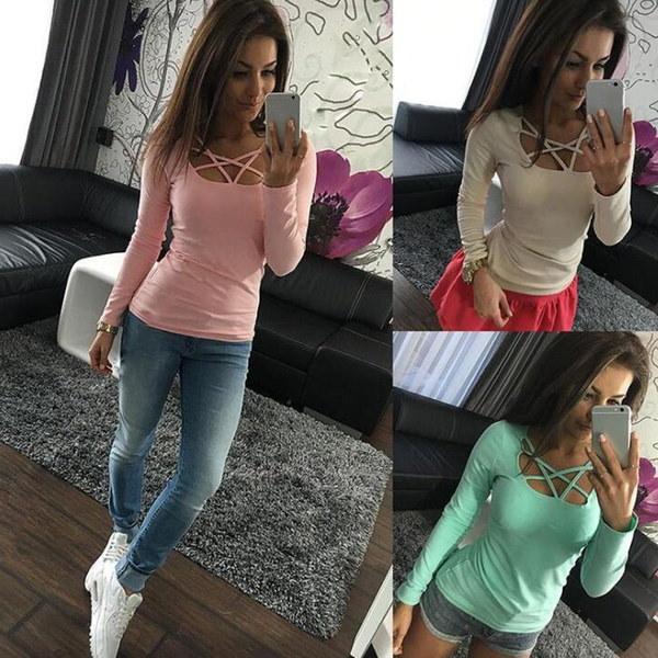 トレンディな女性の長袖スリムフィットクロスTシャツ6色