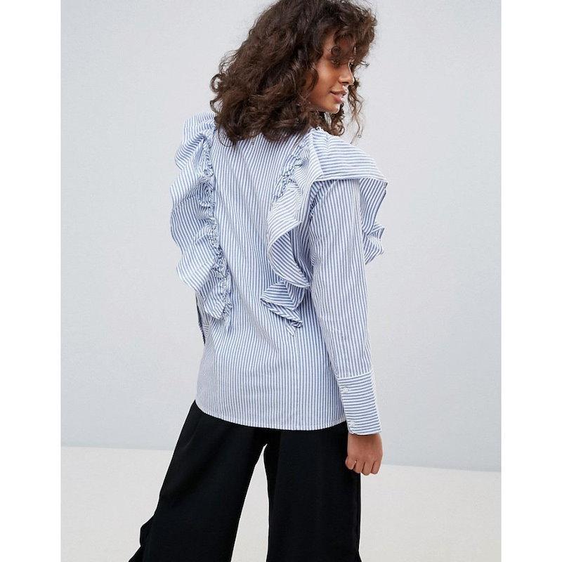 ネオンローズ レディース トップス【Neon Rose Stripe Frill Shirt】Blue