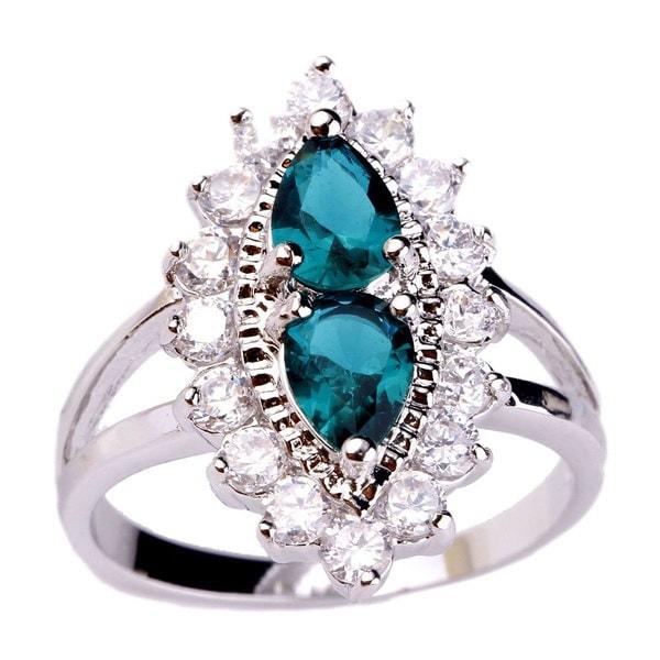 lingmeiファッションジュエリー梨カットグリーン&ホワイトトパーズ宝石シルバーリングサイズ6 7 8 9 10(サイズ:10