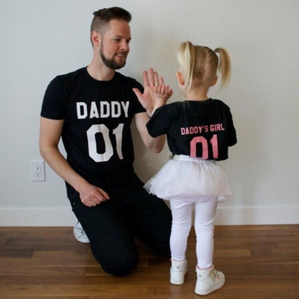DADDY &  DADDY S GIRL Father &  Daughter T shirt Tops Family Matching Tee Clothes