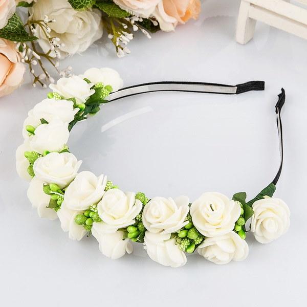 フラワーガーランド花嫁の花嫁のヘッドバンドヘアバンドウェディングパーティープロムフェスティバルの装飾