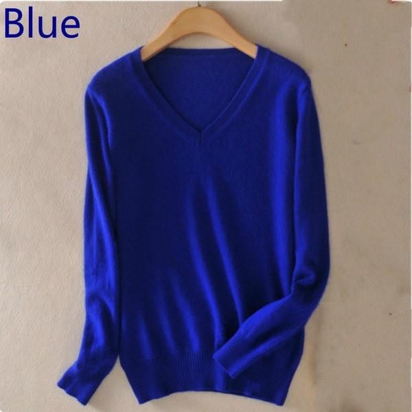 18色ウール純粋なカシミヤセーター女性プルオーバープルフェムセクシーなVネックセータープラスサイズS-XXL