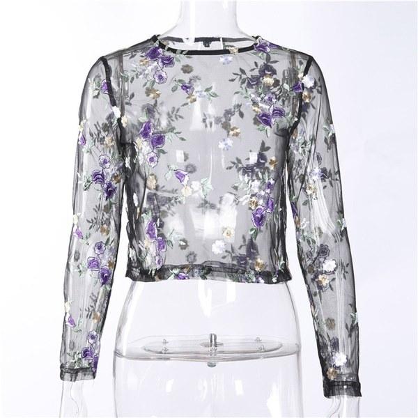 2017新しいファッション女性の夏のセクシーなシアーフラワーロングスリーブシャツブラウストップTシャツ