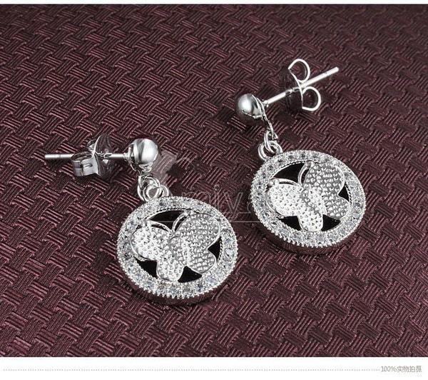 高品質の女性のファッション925スターリングシルバー18kメッキプラチナ人工ダイヤモンドイヤリング